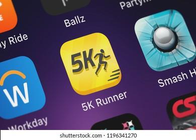 London, United Kingdom - October 05, 2018: Screenshot of the mobile app 5K Runner: Couch Potato to 5K from FITNESS22 LTD.