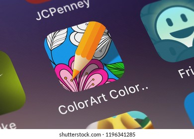 London, United Kingdom - October 05, 2018: Close-up shot of the ColorArt Coloring Book application icon from Critical Hit Software, LLC on an iPhone.
