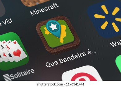 London, United Kingdom - October 05, 2018: Icon of the mobile app Que bandeira é esta - Quiz das bandeiras do Brasil (Name that Flag Free) from Tapps Tecnologia da Informação Ltda. on an iPhone.