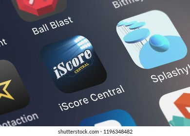 London, United Kingdom - October 05, 2018: Close-up shot of the iScore Central - Live Games application icon from Sports Illustrated Play LLC on an iPhone.