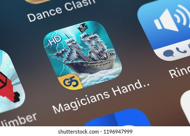 London, United Kingdom - October 05, 2018: Close-up shot of the The Magician's Handbook II: Blacklore HD (Full) application icon from G5 Entertainment AB on an iPhone.
