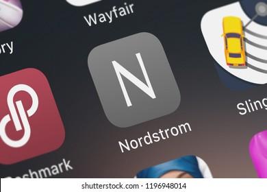 London, United Kingdom - October 05, 2018: Close-up shot of Nordstrom, Inc.'s popular app Nordstrom.