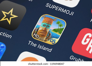 London, United Kingdom - October 05, 2018: Icon of the mobile app The Island - Castaway® HD from G5 Entertainment AB on an iPhone.