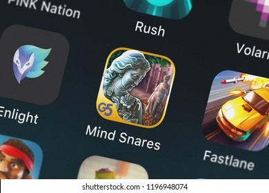 London, United Kingdom - October 05, 2018: Close-up shot of the Mind Snares: Alice's Journey (Full) mobile app from G5 Entertainment AB.