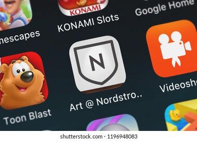 London, United Kingdom - October 05, 2018: Screenshot of the mobile app Art  Nordstrom from Nordstrom, Inc..