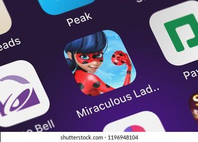 London, United Kingdom - October 05, 2018: Screenshot of Crazy Labs's mobile app Miraculous Ladybug  Cat Noir.