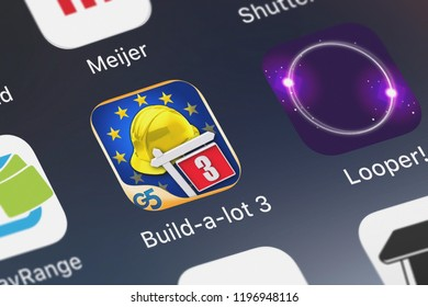 London, United Kingdom - October 05, 2018: Close-up of the Build-a-lot 3: Passport to Europe (Full) icon from G5 Entertainment AB on an iPhone.