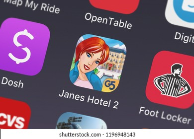 London, United Kingdom - October 05, 2018: Close-up shot of the Jane's Hotel 2: Family Hero application icon from G5 Entertainment AB on an iPhone.