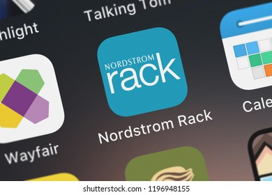 London, United Kingdom - October 05, 2018: The Nordstrom Rack mobile app from Nordstrom, Inc. on an iPhone screen.