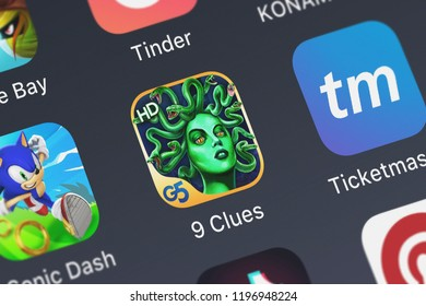London, United Kingdom - October 05, 2018: Icon of the mobile app 9 Clues: The Secret of Serpent Creek HD from G5 Entertainment AB on an iPhone.