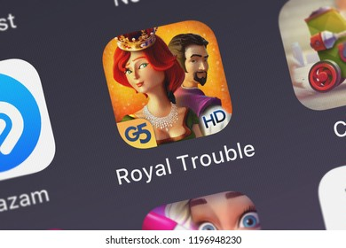 London, United Kingdom - October 05, 2018: Close-up of the Royal Trouble: Hidden Honeymoon Havoc HD (Full) icon from G5 Entertainment AB on an iPhone.
