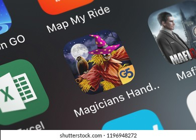 London, United Kingdom - October 05, 2018: Close-up shot of G5 Entertainment AB's popular app The Magician's Handbook: Cursed Valley (Full).