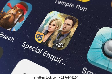London, United Kingdom - October 05, 2018: Icon of the mobile app Special Enquiry Detail: Engaged to Kill® HD from G5 Entertainment AB on an iPhone.