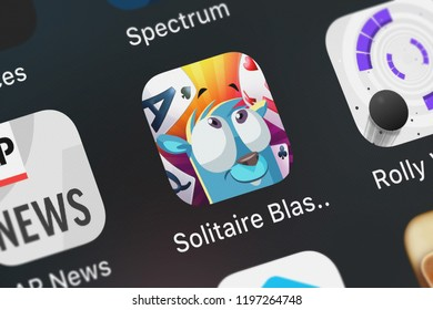 London, United Kingdom - October 05, 2018: Close-up shot of the Solitaire Blast – Fairway Card application icon from Big Fish Games, Inc on an iPhone.