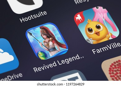 London, United Kingdom - October 05, 2018: Close-up of the Revived Legends: Titan's Revenge HD - An Epic Hidden Object Adventure icon from Big Fish Games, Inc on an iPhone.