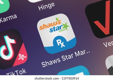 London, United Kingdom - October 05, 2018: Icon of the mobile app Shaw's Star Market Pharmacy from Albertsons Companies, LLC on an iPhone.