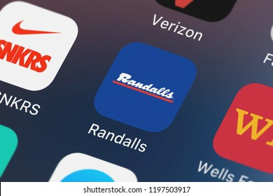London, United Kingdom - October 05, 2018: Screenshot of the Randalls mobile app from Albertsons Companies, LLC icon on an iPhone.