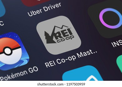 London, United Kingdom - October 05, 2018: Screenshot of the mobile app REI Co-op Mastercard from U.S. Bancorp.