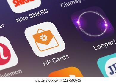 London, United Kingdom - October 05, 2018: Close-up shot of HP Inc.'s popular app HP Cards.
