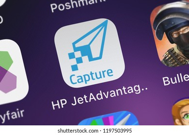 London, United Kingdom - October 05, 2018: Close-up of the HP JetAdvantage Capture icon from HP Inc. on an iPhone.