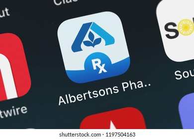 London, United Kingdom - October 05, 2018: Close-up of the Albertsons Pharmacy icon from Albertsons Companies, LLC on an iPhone.