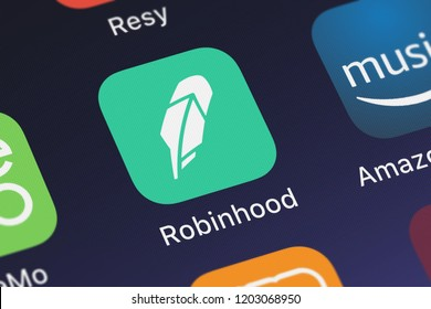 London, United Kingdom - October 05, 2018: Screenshot of Robinhood Markets, Inc.'s mobile app Robinhood - Investing, No Fees.