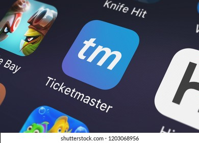 London, United Kingdom - October 05, 2018: Screenshot of the mobile app Ticketmaster from Ticketmaster.