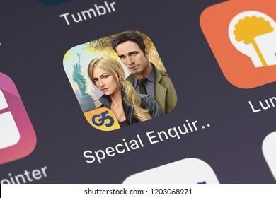 London, United Kingdom - October 05, 2018: Close-up shot of the Special Enquiry Detail: Engaged to Kill® application icon from G5 Entertainment AB on an iPhone.