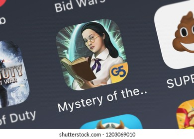 London, United Kingdom - October 05, 2018: Icon of the mobile app The Mystery of the Crystal Portal (Full) from G5 Entertainment AB on an iPhone.