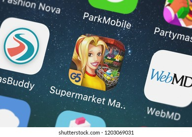 London, United Kingdom - October 05, 2018: Screenshot of the Supermarket Mania Journey mobile app from G5 Entertainment AB icon on an iPhone.