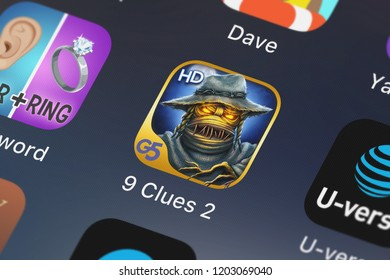 London, United Kingdom - October 05, 2018: Screenshot of the 9 Clues 2: The Ward HD mobile app from G5 Entertainment AB icon on an iPhone.