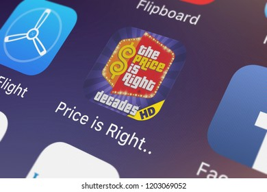 London, United Kingdom - October 05, 2018: The The Price is Right™ Decades HD mobile app from Ludia on an iPhone screen.
