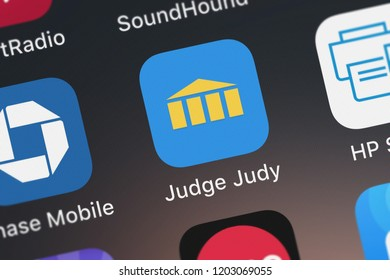 London, United Kingdom - October 05, 2018: Close-up shot of the Judge Judy mobile app from CBS Interactive.