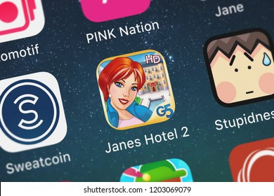 London, United Kingdom - October 05, 2018: Close-up shot of the Jane's Hotel 2: Family Hero HD application icon from G5 Entertainment AB on an iPhone.