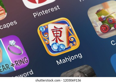 London, United Kingdom - October 05, 2018: Icon of the mobile app Mahjong⁺ from DoraLogic on an iPhone.