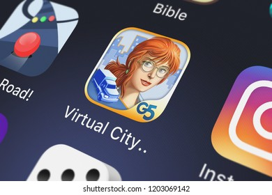 London, United Kingdom - October 05, 2018: Screenshot of the Virtual City (Full) mobile app from G5 Entertainment AB icon on an iPhone.