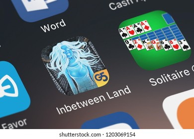 London, United Kingdom - October 05, 2018: Close-up shot of the Inbetween Land application icon from G5 Entertainment AB on an iPhone.