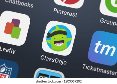 London, United Kingdom - October 05, 2018: Icon of the mobile app ClassDojo from Class Twist Inc. on an iPhone.