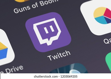 London, United Kingdom - October 05, 2018: Close-up shot of the Twitch: Live Game Streaming mobile app from Twitch Interactive, Inc..