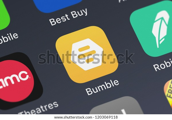 London, United Kingdom - October 05, 2018: Icon of the mobile app Bumble - Meet New People from Bumble Holding Limited on an iPhone.