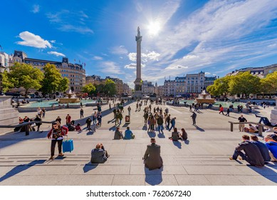 LONDON, UNITED KINGDOM - OCTOBER 06: This is Trafalgar square, it is a popular tourist destination in central London on October 06, 2017 in London
