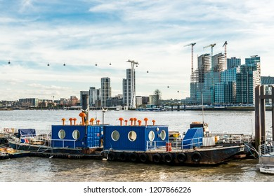 London, United Kingdom - October 07, 2018: Trinity Buoy Wharf at River Thames and Bow Creek, Leamouth. Home to the  London's only lighthouse, container city, and various artworks.