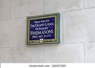 London, United Kingdom - October 09, 2010: The Grand Lodge of English Freemasons Blue Plaque Memorial in London, UK.