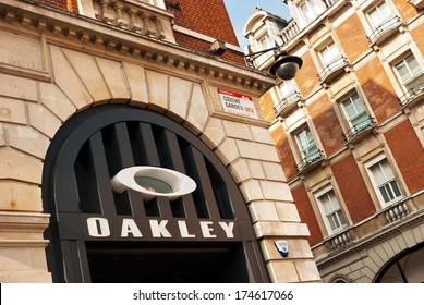 London, United Kingdom - October 1, 2013: Oakley exterior store in London, United Kingdom. Oakley manufactures sports performance equipment and lifestyle pieces including sunglasses.