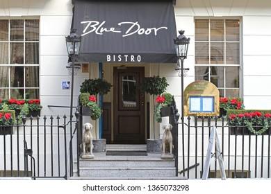 London, United Kingdom - October 12, 2010: The Blue Door Bistro British Restaurant at Bloomsbury in London, UK.