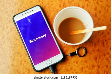 """London, United Kingdom- October 1,2018: Bloomberg application help the financial player to new information everyday. In financial money never sleep."""