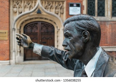 London, United Kingdom - October 14, 2018: A close-up of the J Seward Johnson Monument on 2 John Carpenter st in London.