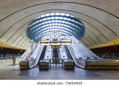 LONDON, UNITED KINGDOM - OCTOBER 14th, 2017, Canary Wharf tube station in London's Docklands, serves the largest business district in the United Kingdom.