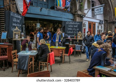 London, United Kingdom - October 17, 2015: Rope walk, in SE1 London is a popular saturday market with artisan food stalls and quirky bars and restaurants in the railway arches.