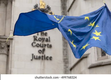London, United Kingdom - October 17, 2016: Royal Courts of Justice. A court case is being heard in the Royal Courts of Justice as to who can officially trigger Article 50 for Brexit.